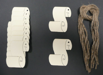 Rolled Scroll Gift Tags / Price Tags 65mm Pack of 10